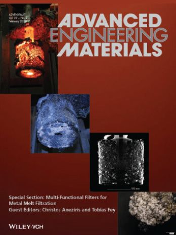Advanced Engineering Materials 2019 journal front cover featuring Exaddon research