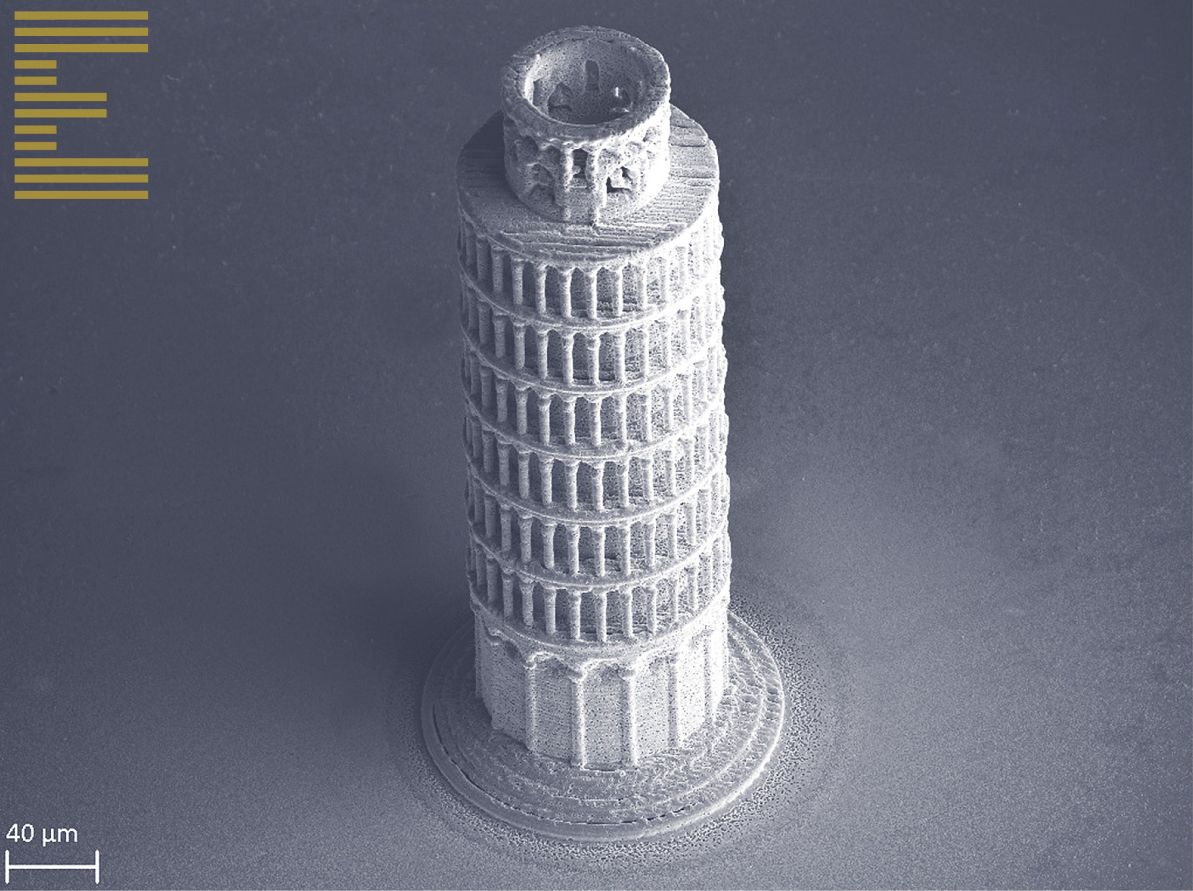 The Tower of Pisa 3D printed in copper, just 360 micrometers in height