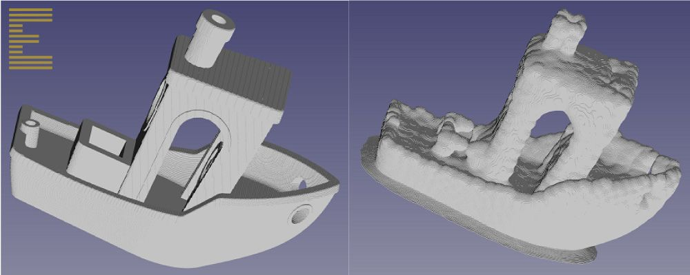 A simulated 3D print of 3DBenchy, produced with Exaddon's metal AM simulation software