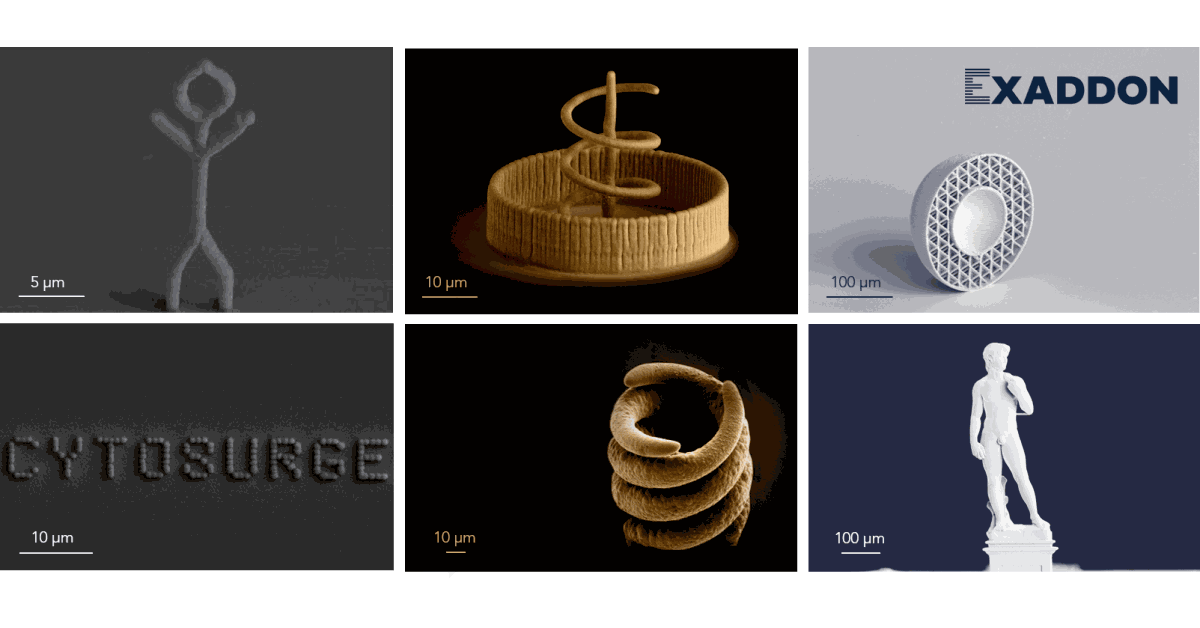 Various 3D printed microscale metal objects printed by Exaddon