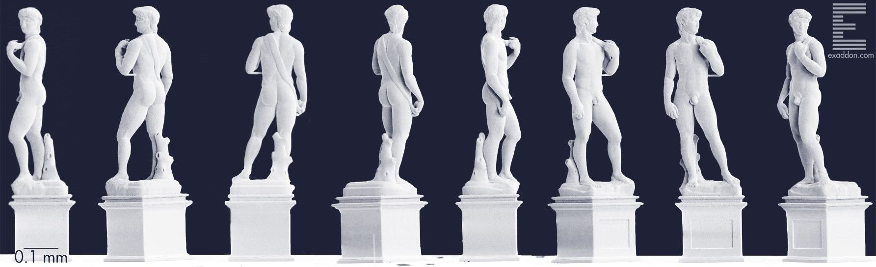 Multiple views of Michelangelo's David 3D printed in microscale, produced by Exaddon